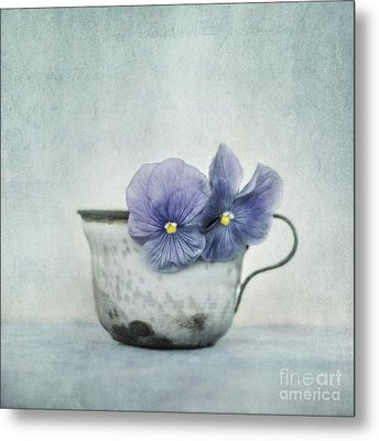 Spring Blues With A Hint Of Yellow Metal Print by Priska Wettstein