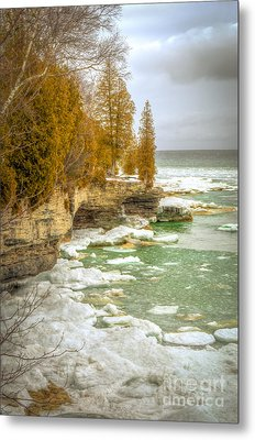 Metal Print featuring the photograph Spring Breaking Through At Cave Point by Mark David Zahn
