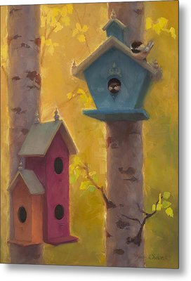 Spring Chickadees 2 - Birdhouse And Birch Forest Metal Print by Karen Whitworth