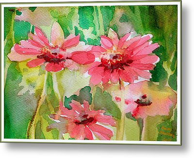 Spring Daisies In The Pink Metal Print by Mindy Newman