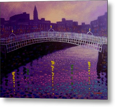 Spring Evening Ha Penny Bridge Dublin Metal Print by John  Nolan