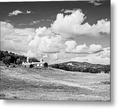 Spring Farm And Hay Field With Clouds In Maine Metal Print by Keith Webber Jr