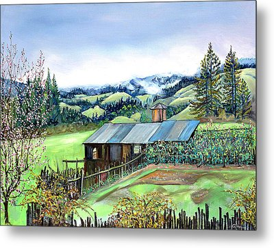 Metal Print featuring the painting Spring Farm by Asha Carolyn Young
