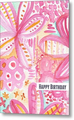 Spring Flowers Birthday Card Metal Print