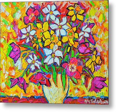 Spring Flowers Bouquet Colorful Tulips And Daffodils Metal Print by Ana Maria Edulescu