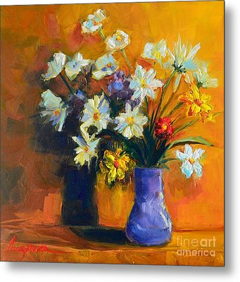 Spring Flowers In A Vase Metal Print by Patricia Awapara