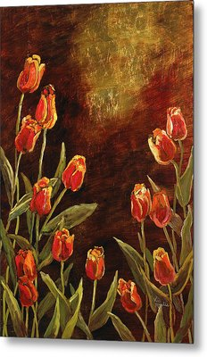 Metal Print featuring the painting Spring Garden II by Vic  Mastis