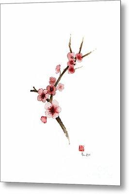 Spring Gift Flowers Pink Sakura Purple Brown Bloom From Cherry Blossom Watercolor Painting Metal Print