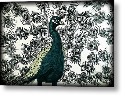 Spring Green Peacock Metal Print by Megan Dirsa-DuBois