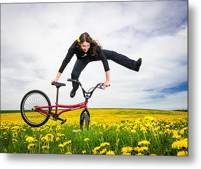 Spring Has Sprung - Bmx Flatland Artist Monika Hinz Jumping In Yellow Flower Meadow Metal Print by Matthias Hauser