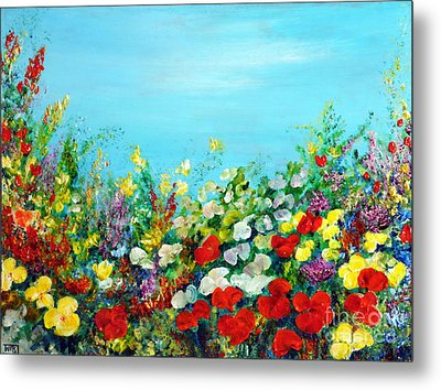 Metal Print featuring the painting Spring In The Garden by Teresa Wegrzyn