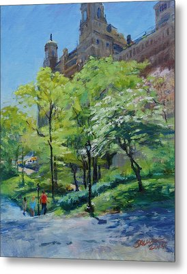 Spring Morning In Central Park Metal Print
