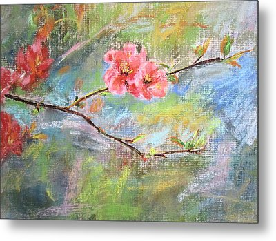 Metal Print featuring the painting Spring Peach Blosom by Jieming Wang