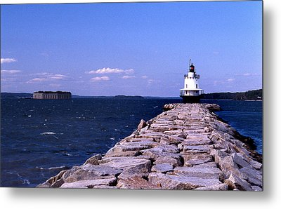 Spring Point Ledge Lighthouse Metal Print by Skip Willits