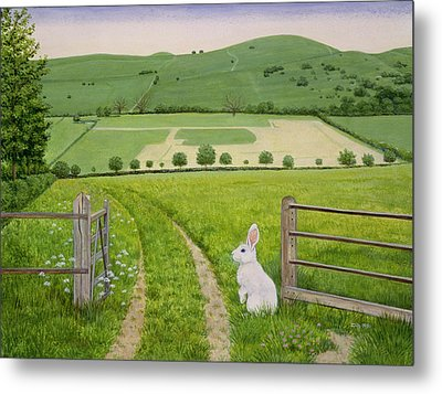 Spring Rabbit Metal Print by Ditz