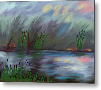 Spring Reed In The Canyon Metal Print by Angela A Stanton