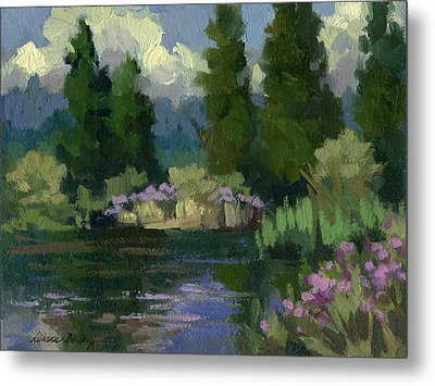 Spring Reflections At Harry's Pond Metal Print