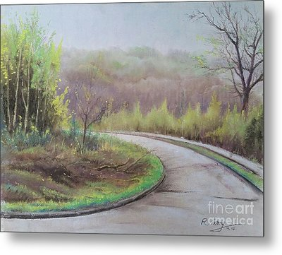 Metal Print featuring the painting Spring Road by Rose Wang