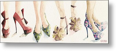 Spring Shoes Watercolor Fashion Illustration Art Print Metal Print by Beverly Brown
