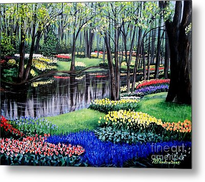 Metal Print featuring the painting Spring Spendor Tulip Garden by Patricia L Davidson