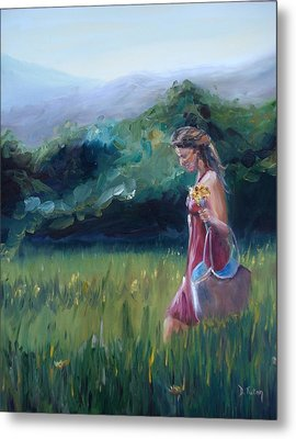 Metal Print featuring the painting Spring Stroll by Donna Tuten
