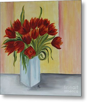 Springflowers - Oil Painting Metal Print by Christiane Schulze Art And Photography