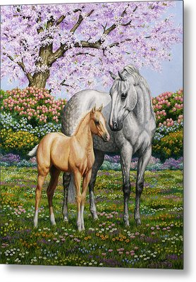 Spring's Gift - Mare And Foal Metal Print by Crista Forest