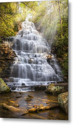 Springtime At Benton Falls Metal Print by Debra and Dave Vanderlaan