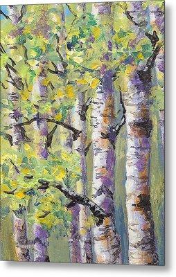 Springtime Birches Metal Print by Karen Mattson