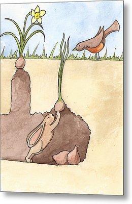 Springtime Bunny Metal Print by Christy Beckwith
