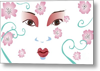 Springtime Geisha Metal Print by Whitney Morton