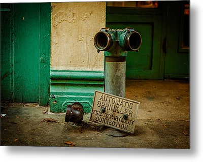 Sprinkler Green Metal Print by Melinda Ledsome