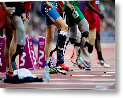 Sprinters At Start Of Paralympics 100m Metal Print by Science Photo Library