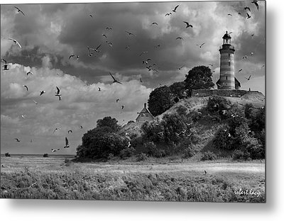 Sprogoe Lighthouse Metal Print by Robert Lacy