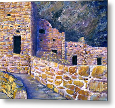 Metal Print featuring the painting Spruce House At Mesa Verde In Colorado by Lenora  De Lude