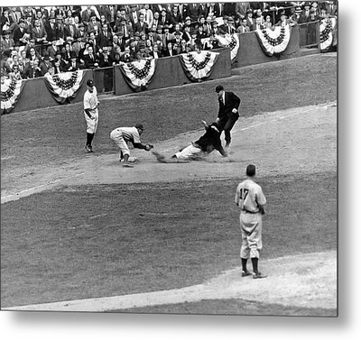 Spud Chandler Is Out At Third In The Second Game Of The 1941 Wor Metal Print by Underwood Archives