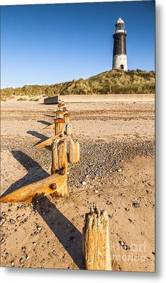 Spurn Point Lighthouse And Sea Defences Metal Print by Colin and Linda McKie