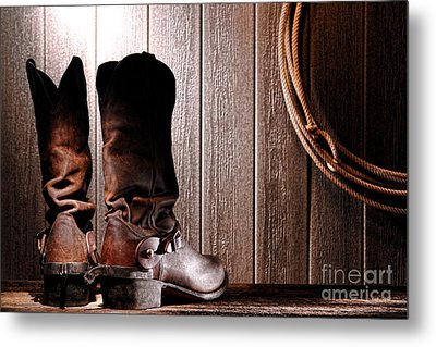 Spurs On Cowboy Boots Heels Metal Print by Olivier Le Queinec