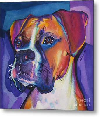 Square Boxer Portrait Metal Print