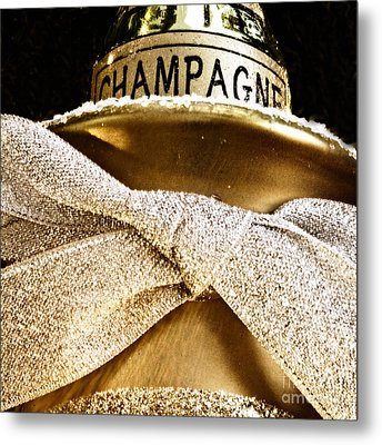 Square Gold Champagne Ornament Metal Print by Birgit Tyrrell