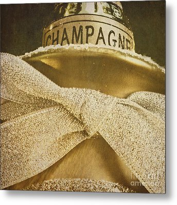 Square Gold Vintage Champagne Ornament Metal Print by Birgit Tyrrell
