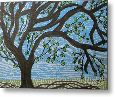 Squiggly Tree Metal Print by Marcia Weller-Wenbert
