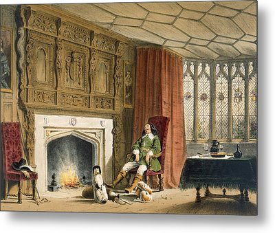 Squire With His Dogs By The Hearth Metal Print