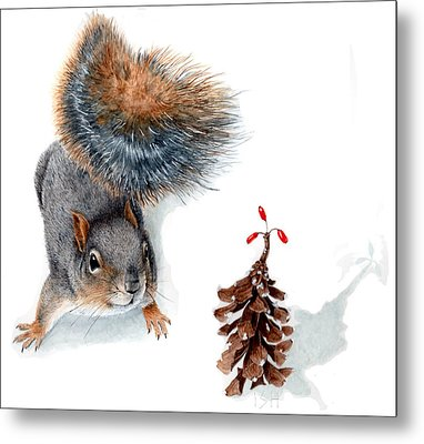 Squirrel And Festive Pine Cone Metal Print by Inger Hutton