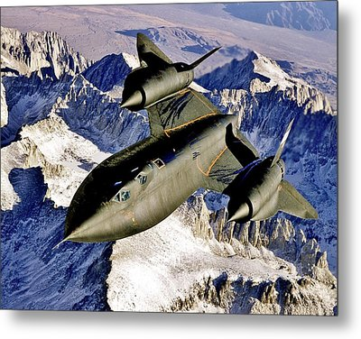 Sr-71 Over The Sierras Metal Print