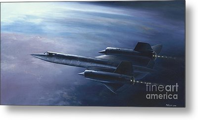 Metal Print featuring the painting Sr-71 by Stephen Roberson