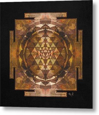 Sri Yantra Gold Metal Print