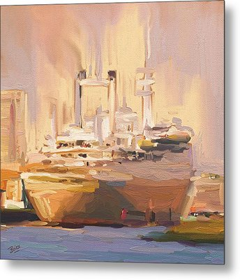 Metal Print featuring the painting Ss Rotterdam In Autumn Light by Nop Briex