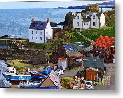 St. Abbs Harbour - Photo Art Metal Print by Les Bell