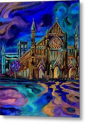 St Albans Abbey - Night View Metal Print by Giovanni Caputo